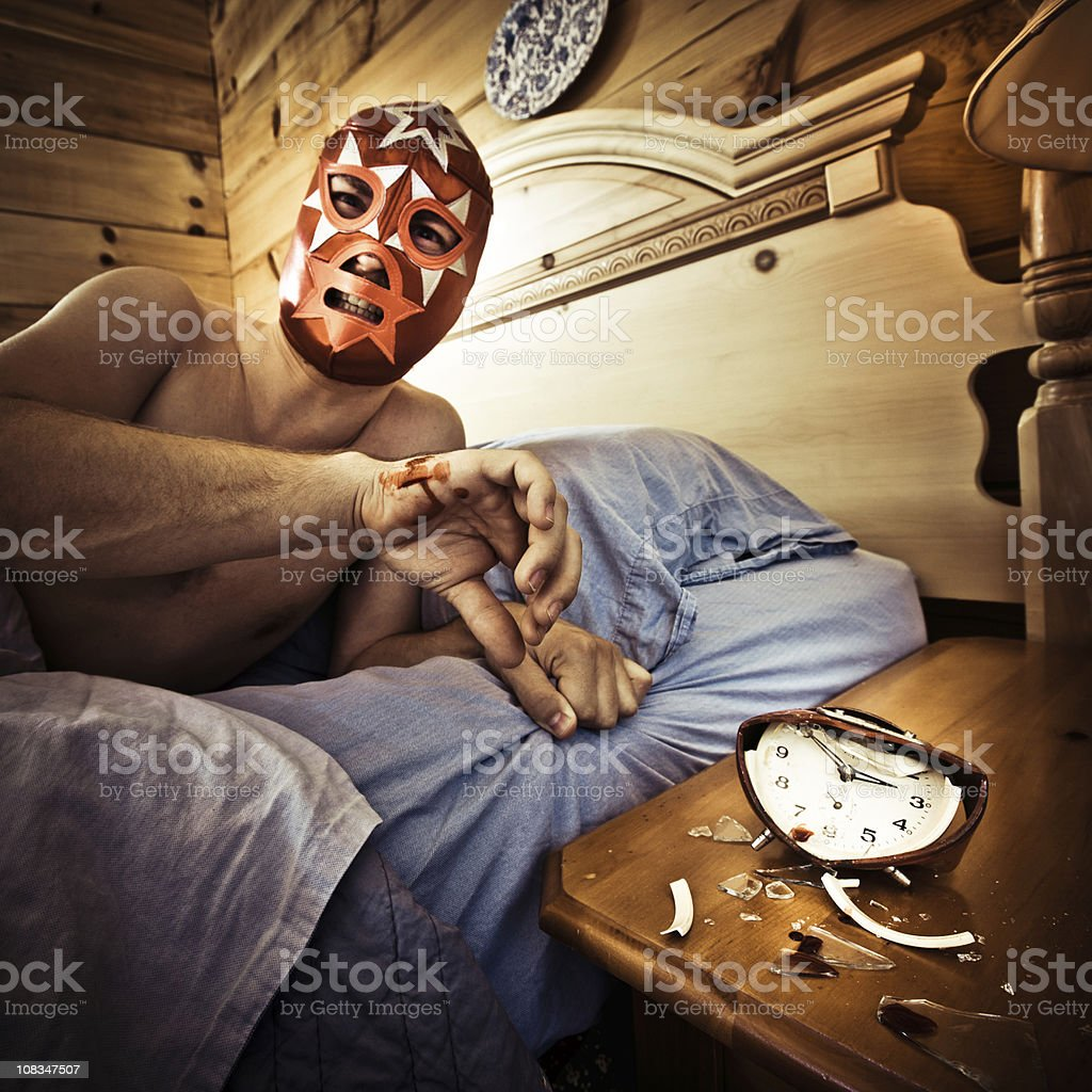 mexican luchador waking up in the morning royalty-free stock photo