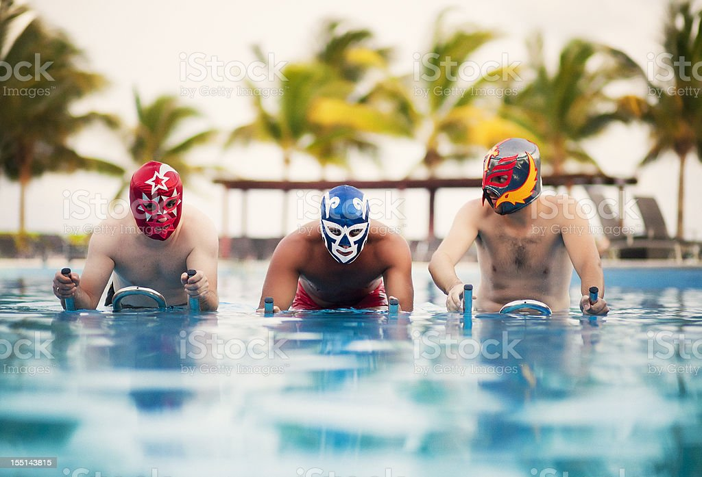 mexican luchadores bootcamp training stock photo