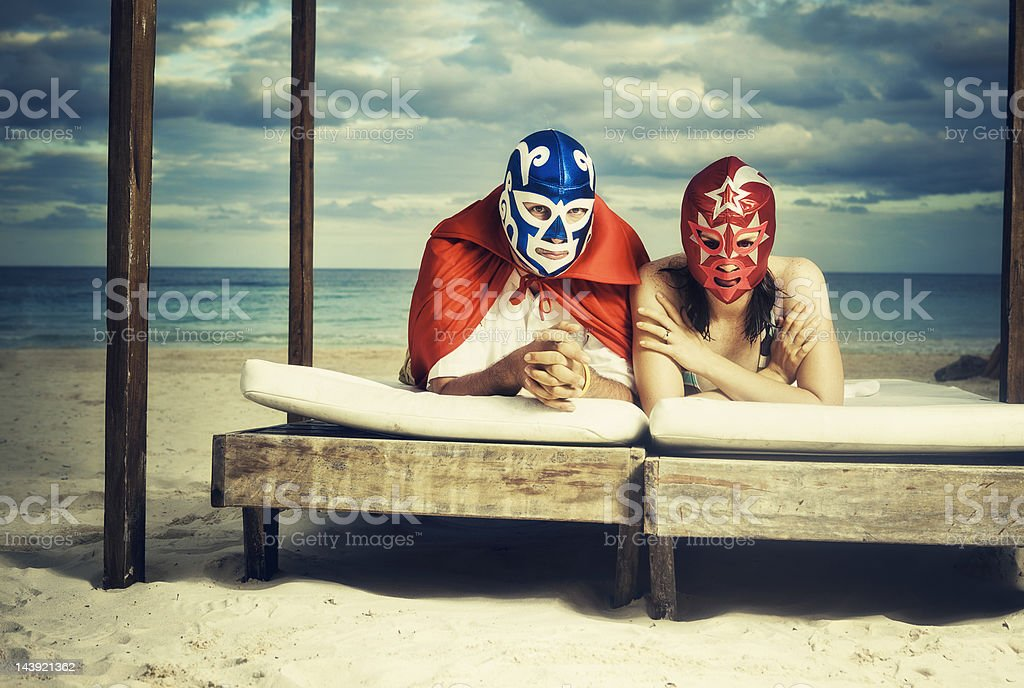 mexican luchadores on honey moon stock photo