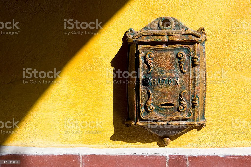 Mexican Mail Box on Yellow Wall royalty-free stock photo