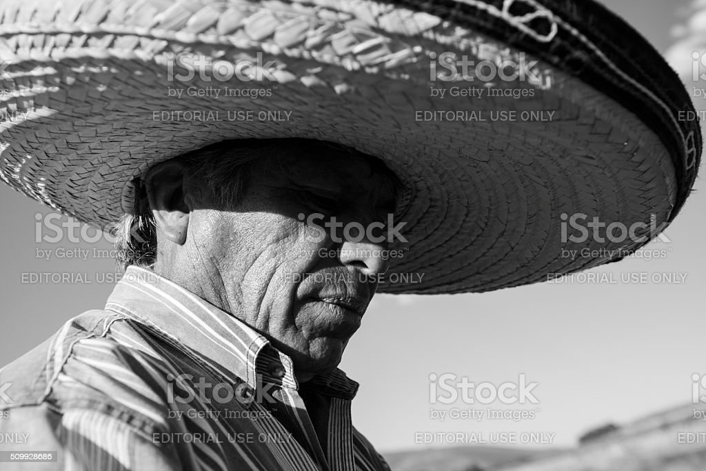 Mexican man wearing sombrero stock photo