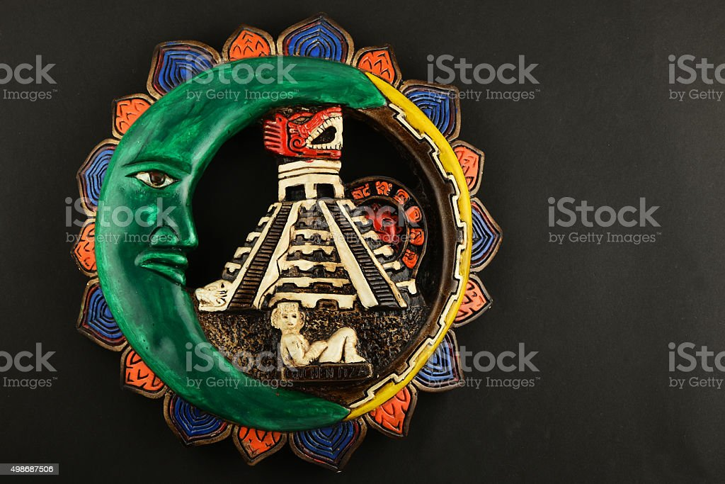 Mexican Mayan Chichen Itza ceramic painted plate isolated on bla royalty-free stock photo