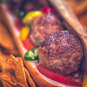 Mexican Meatball Sandwich with Tortilla and Jalapeno