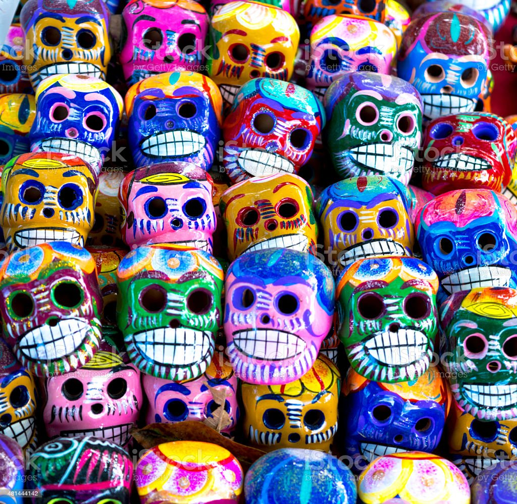 Mexican Mini Skulls handcraft Chiapas stock photo