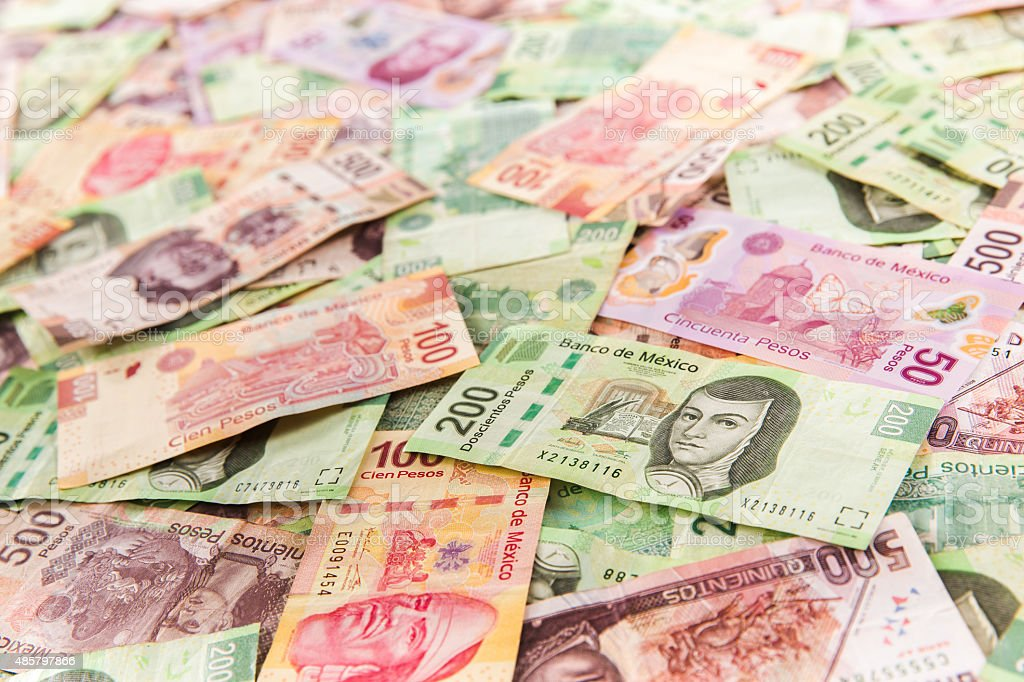 Mexican money background / selective focus stock photo