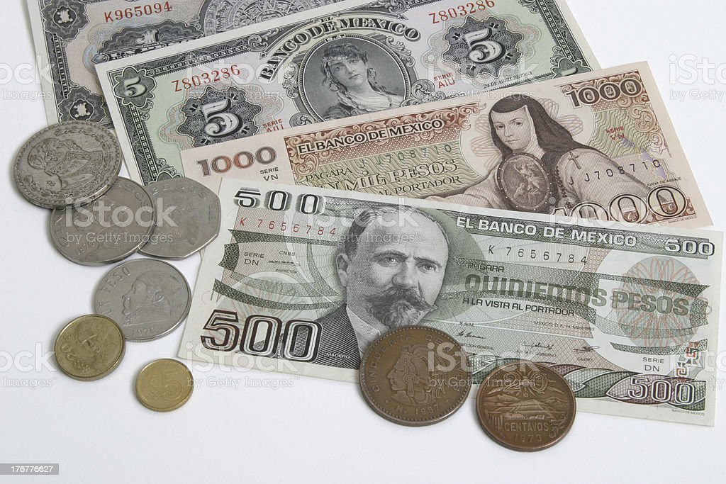 Mexican money old and newer stock photo