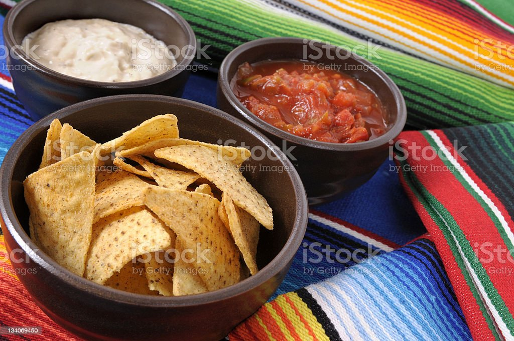 Mexican nachos with dips royalty-free stock photo