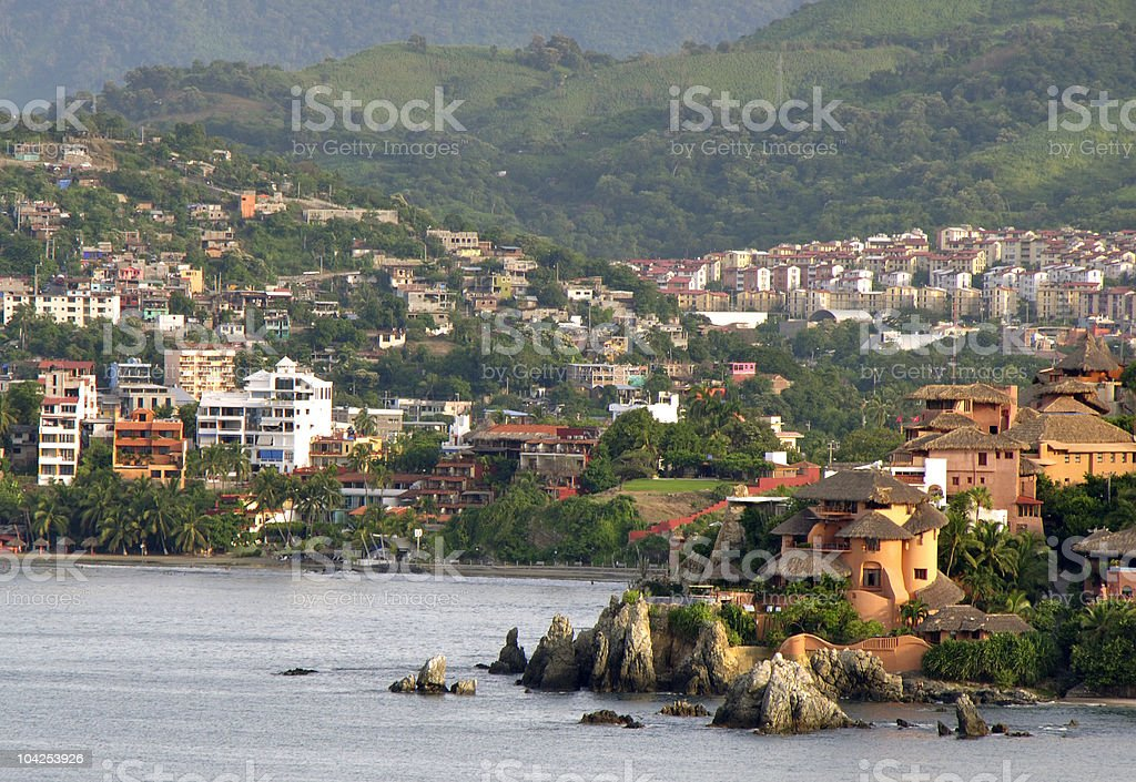 Mexican Oceanside Village stock photo