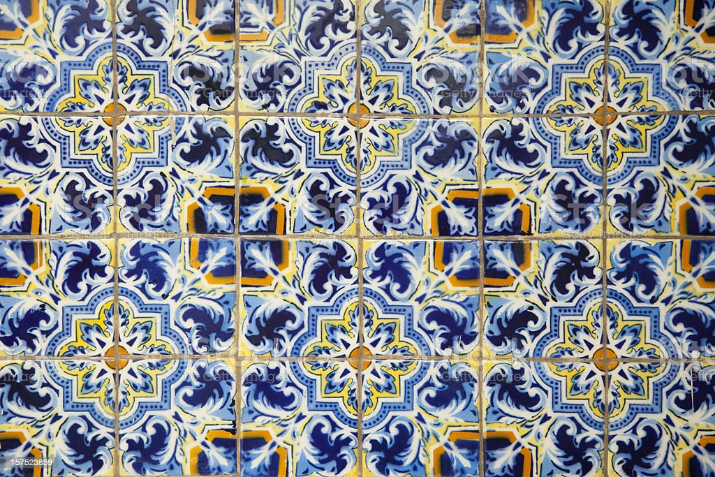 Mexican Painted Tiles, Pattern, Background, Blue, Decor royalty-free stock photo
