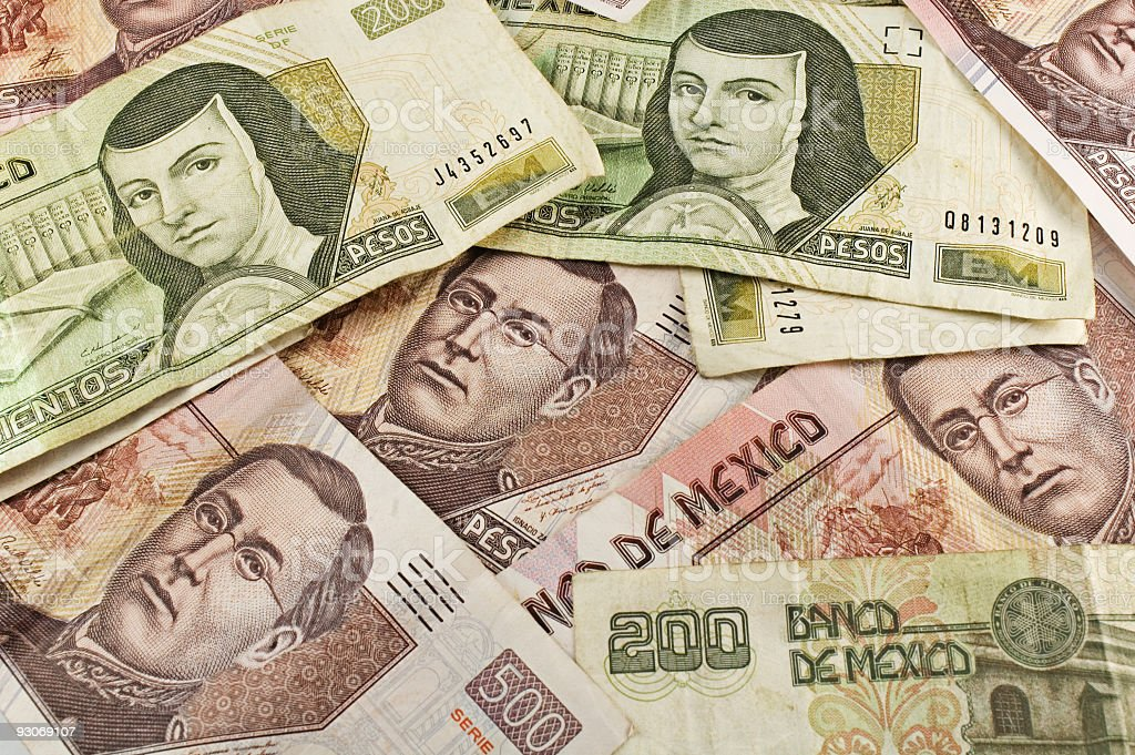 Mexican Paper Money Pile stock photo
