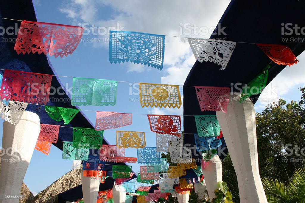 Mexican papers in the wind royalty-free stock photo