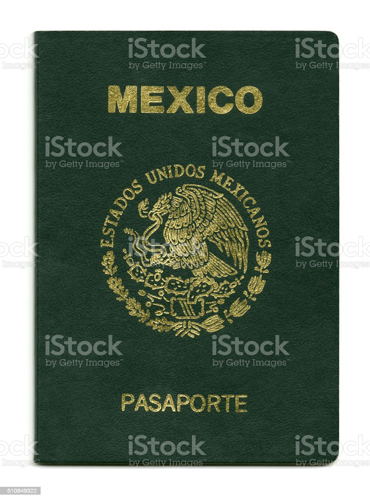 Mexican passport close-up stock photo