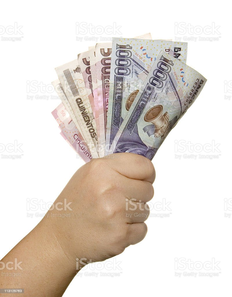 Mexican Peso Bills On Hand stock photo