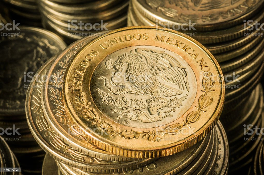 Mexican Peso Coins stock photo
