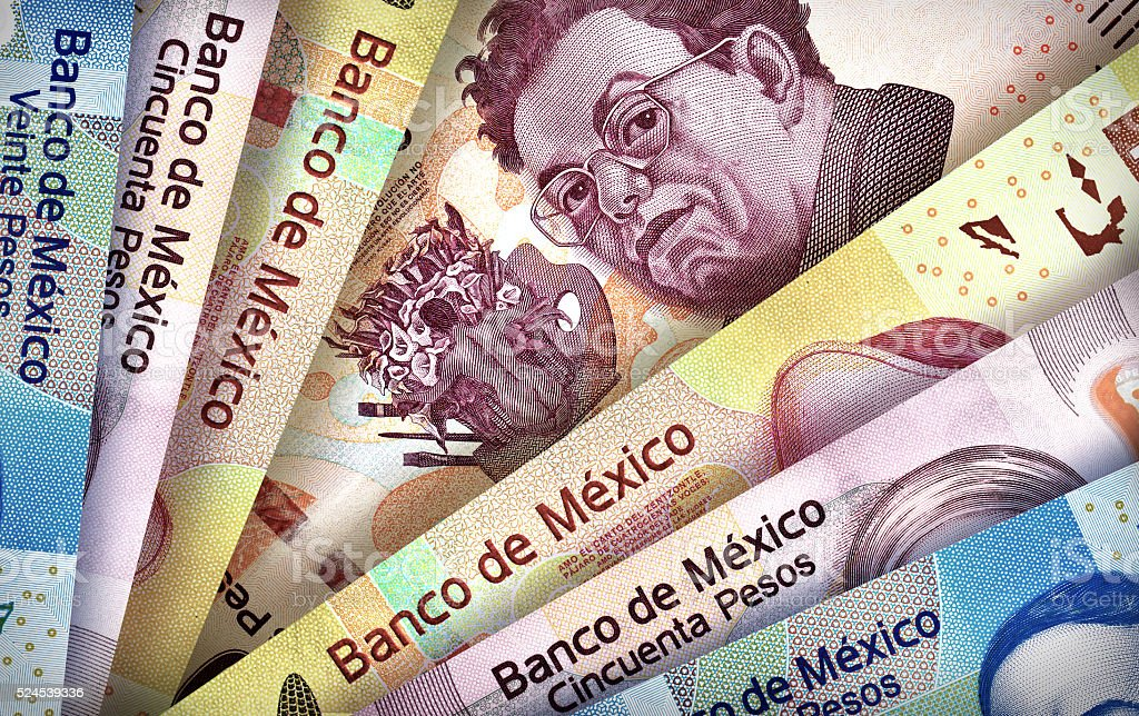 Mexican Peso Paper Bills stock photo