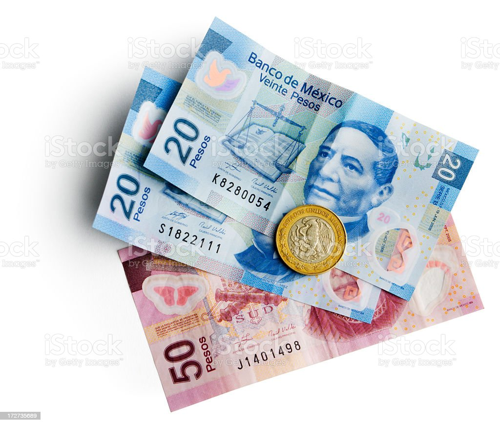 Mexican Pesos Currency, Bills, Coins Cash Money Isolated on White stock photo