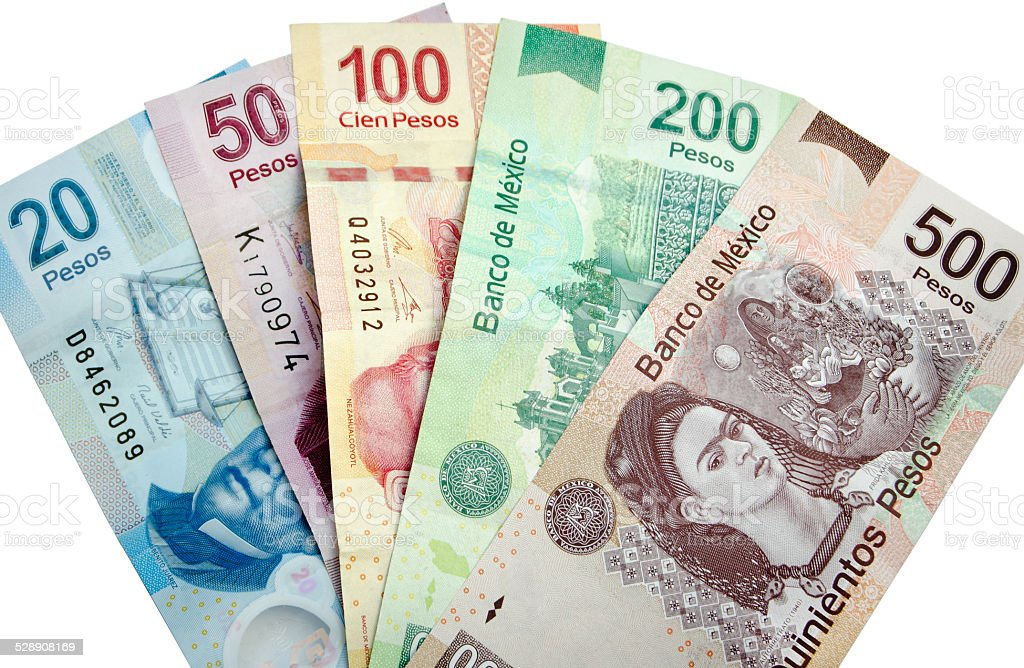 Mexican Pesos isolated stock photo