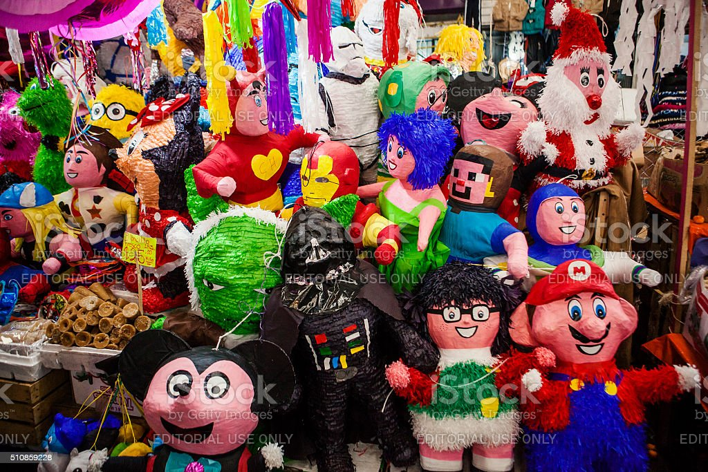 Mexican pinatas stock photo