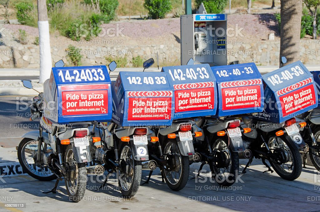 Mexican Pizza Delivery Bikes royalty-free stock photo