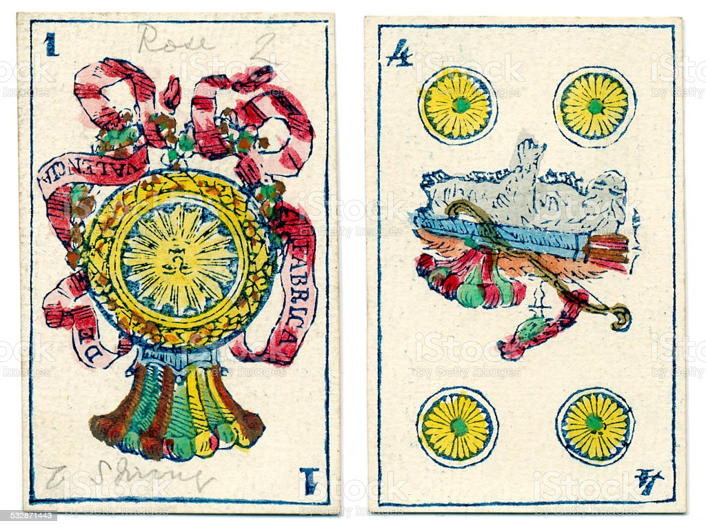 Mexican playing cards baraja 1846 one four coins Oros stock photo