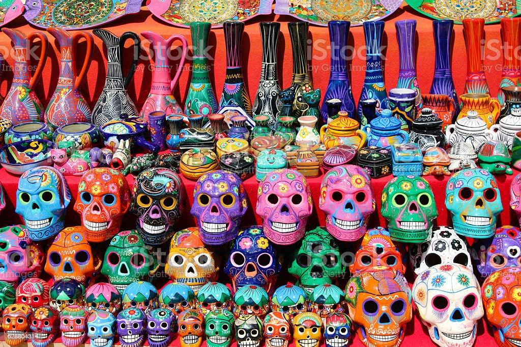 mexican pottery souvenir skulls and ceramic jugs stock photo