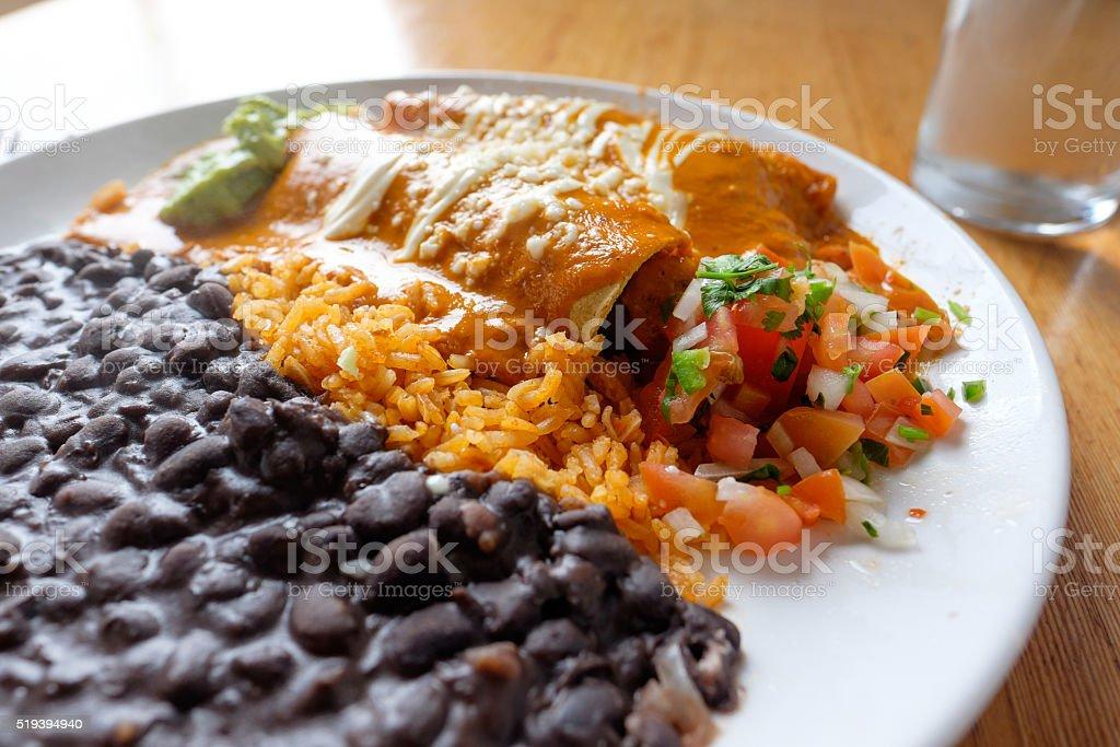 Mexican Restaurant Enchiladas Plate stock photo