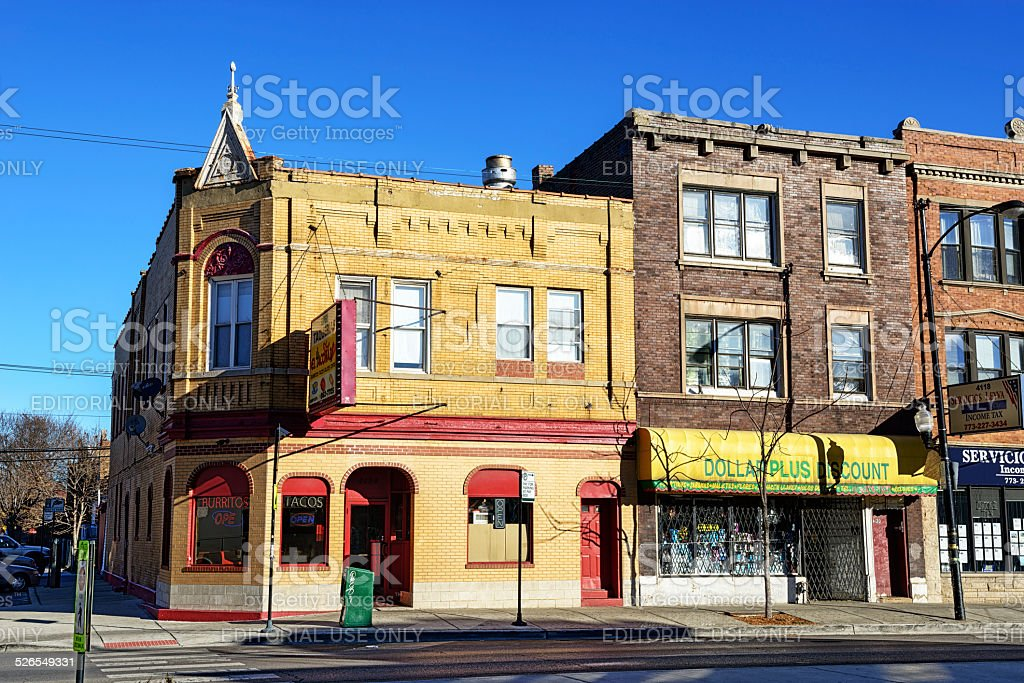 Mexican restaurant on North Avenue in Chicago stock photo