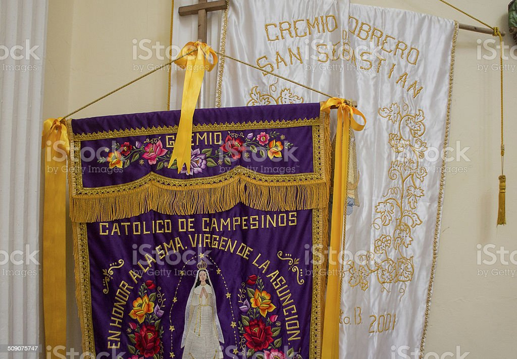 Mexican saint banners for procession royalty-free stock photo