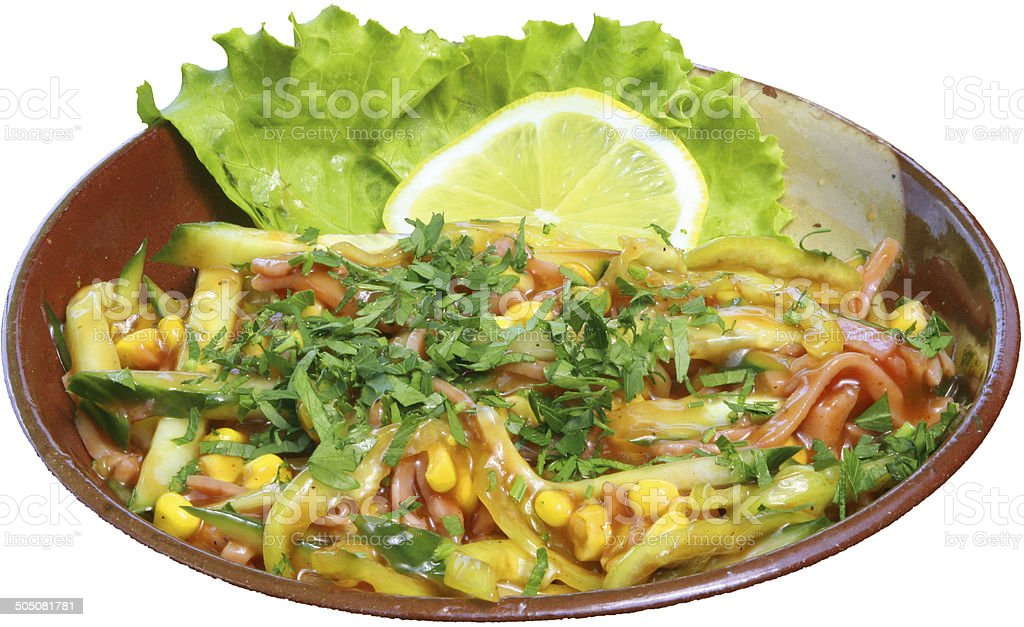 Mexican salad with fresh vegetables and herbs, lettuce in background royalty-free stock photo