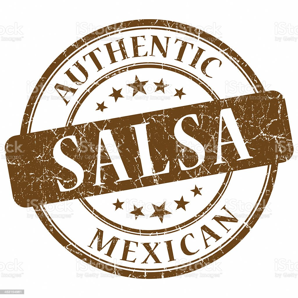 mexican salsa brown round stamp stock photo