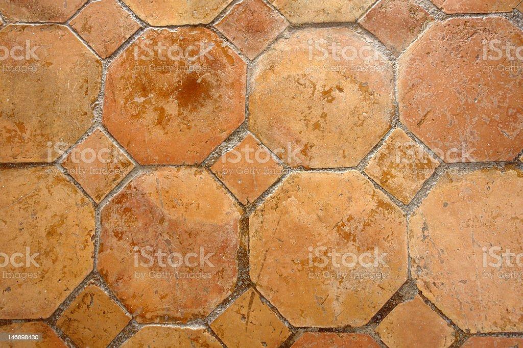 Mexican saltillo tiled floor background stock photo