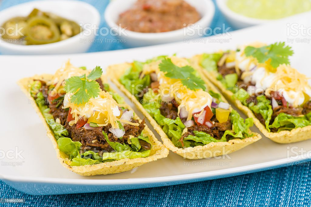 Mexican Shredded Beef Taco Trays royalty-free stock photo