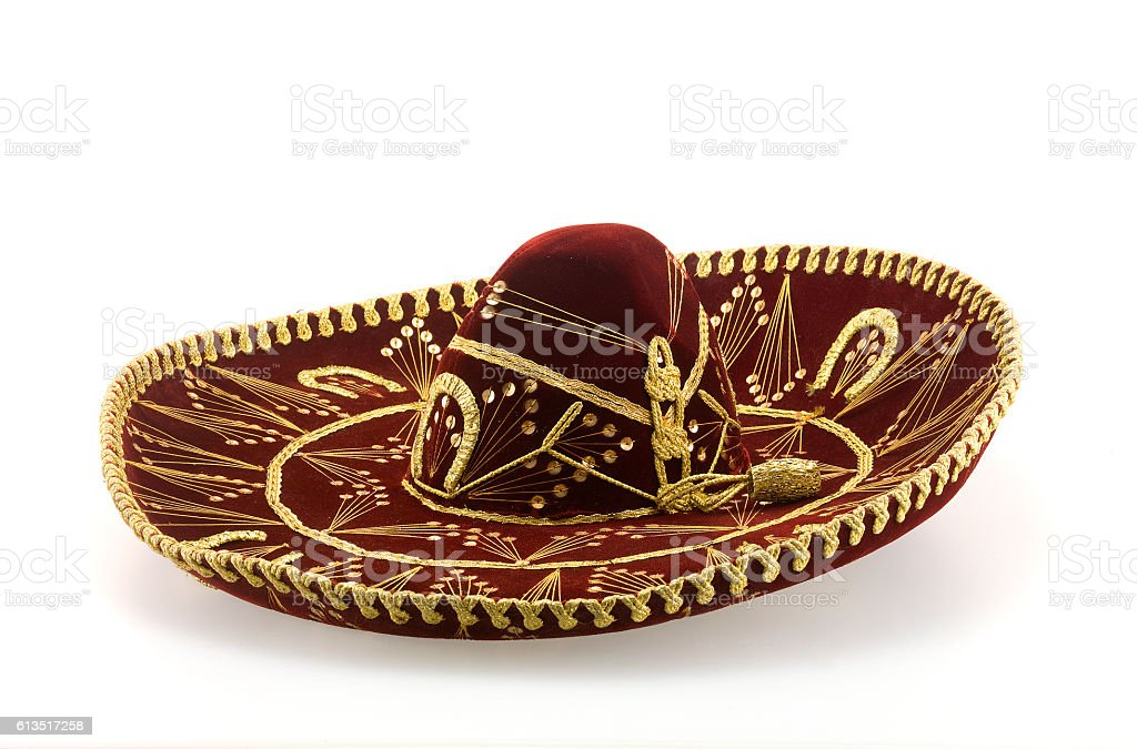 mexican sombrero isolated on white stock photo