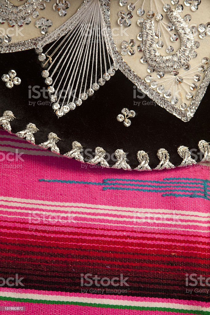 Mexican Sombrero On Colorful Blanket, Mexico royalty-free stock photo