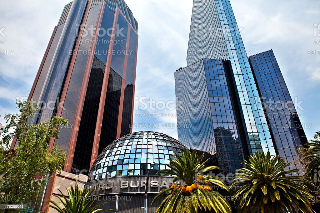 Mexican Stock Exchange building in Mexico city, Mexico. stock photo