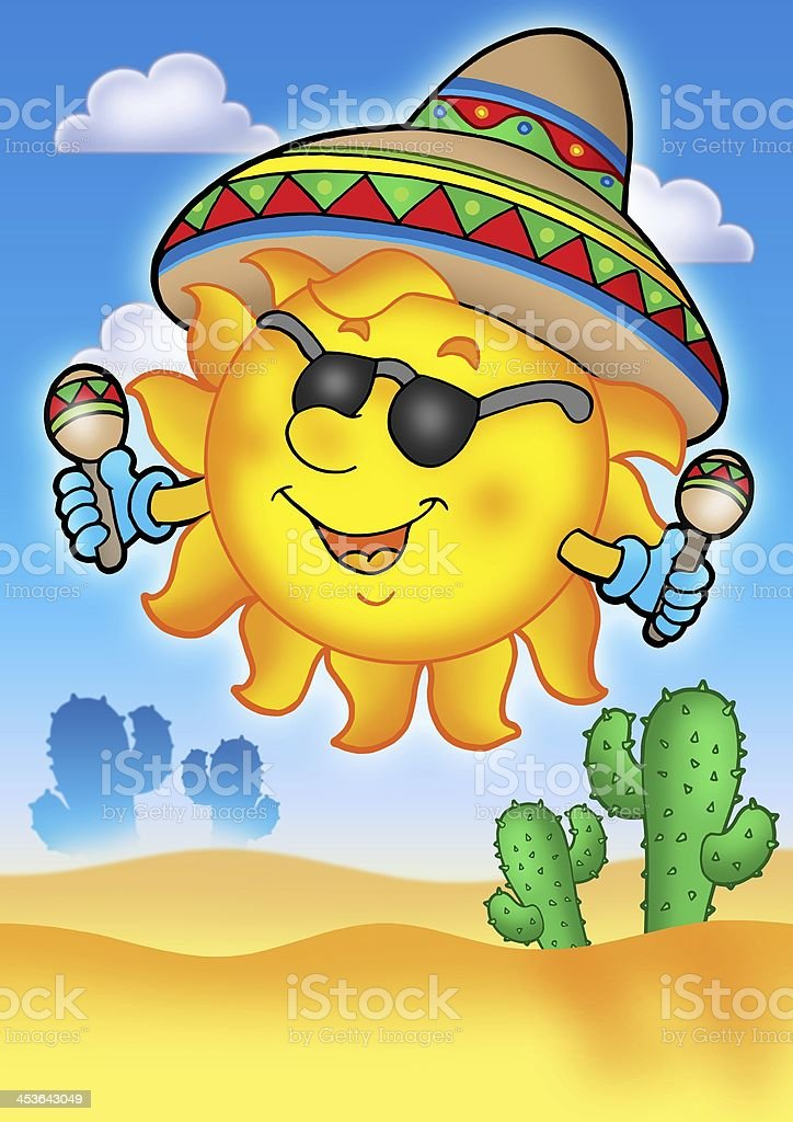Mexican sun on blue sky royalty-free stock photo