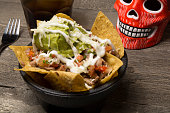 Mexican Taco Guacamole Salad With Day Of The Dead Scull
