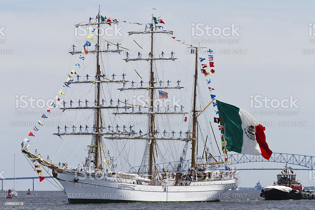 Mexican Tall Ship Cuauhtemoc, Side View stock photo