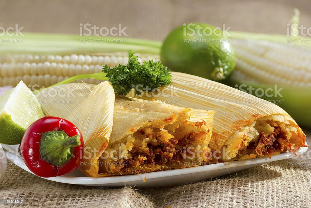 Mexican tamales on plate. stock photo