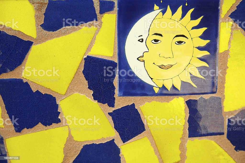 Mexican Tile Wall, Sun, Moon, Decorative, Decor, Background royalty-free stock photo