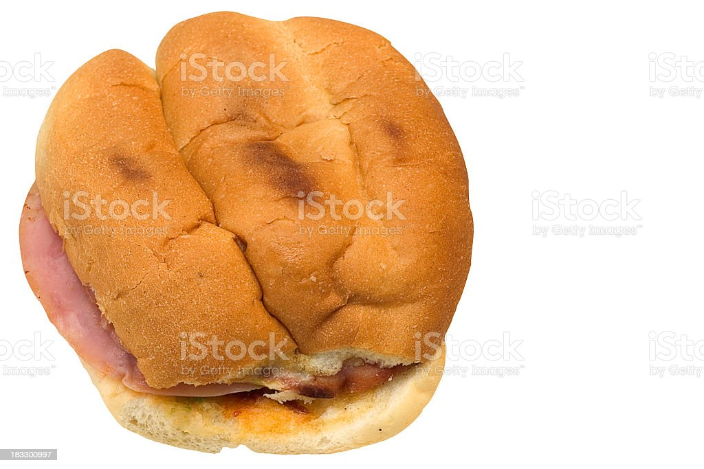 Mexican torta, meat sandwich with white bread and ham royalty-free stock photo