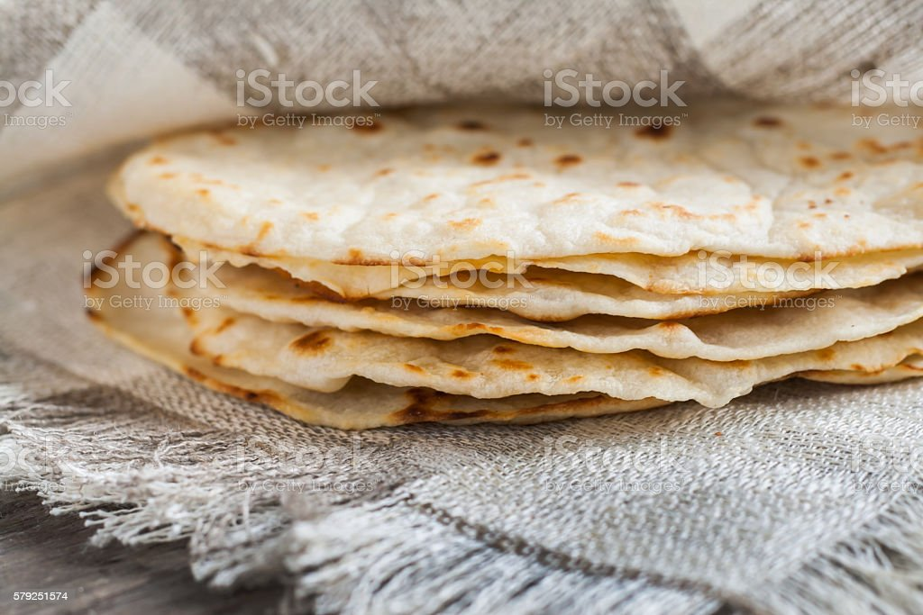 Mexican tortillas freshly baked pita stock photo