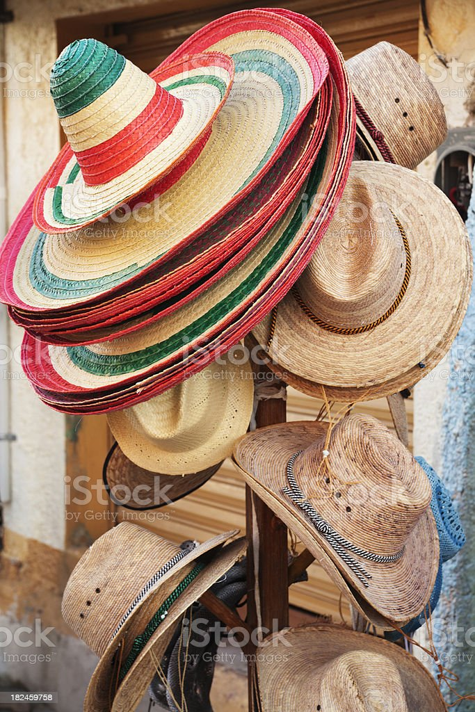 Mexican Tourist Souvenir Straw Hats stock photo