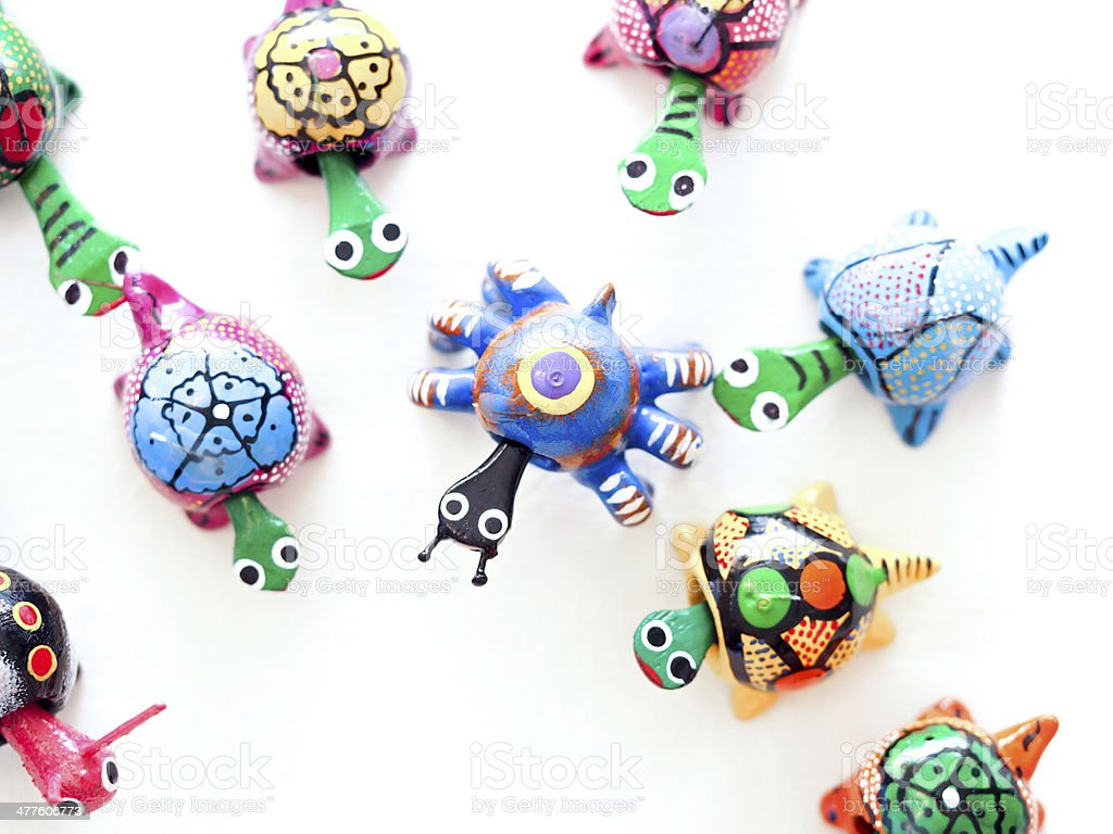 Mexican toy turtles stock photo
