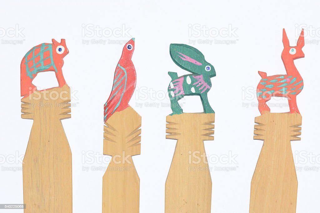 Mexican traditional wooden book markers close up artcraft stock photo