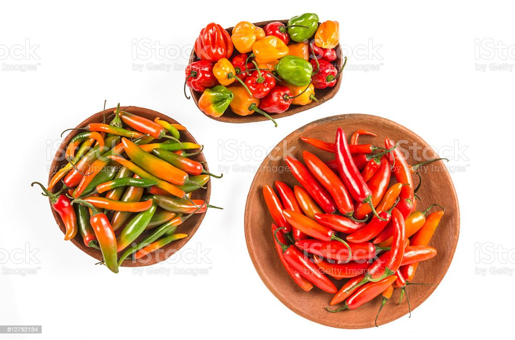 Mexican variety of hot peppers stock photo