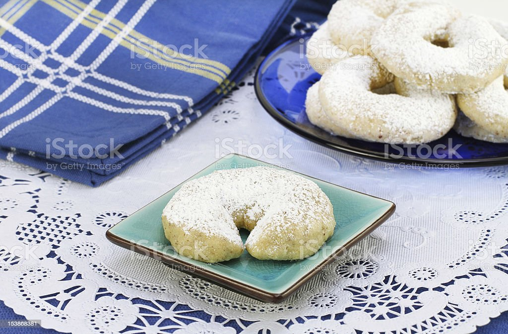 Mexican Wedding Cookie on pretty plate royalty-free stock photo