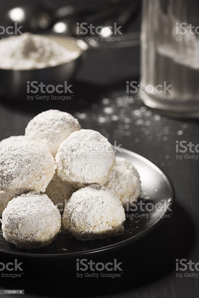 Mexican Wedding Cookies, Christmas Snowballs or Russian Tea Cakes stock photo