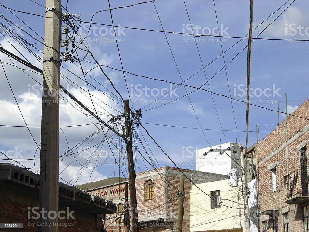 Mexican wiring nightmare stock photo