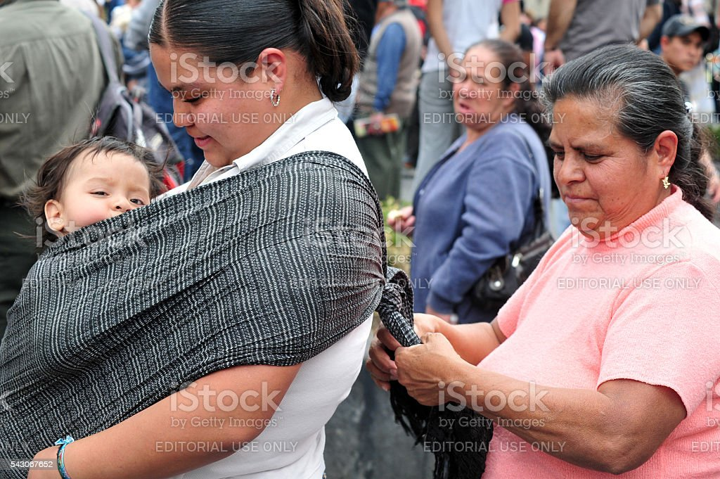 Mexican women with Baby in Mexico City, Mexico stock photo